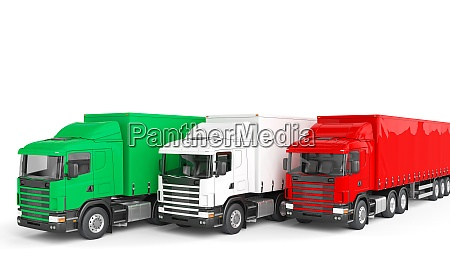 lastenwagen mit italienischer flagge konzept der