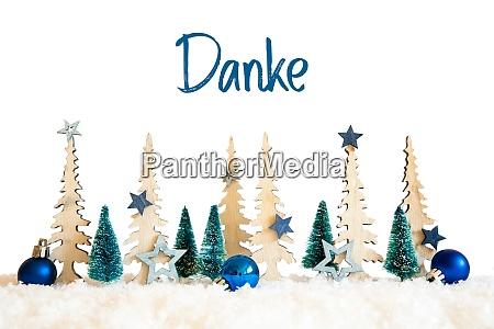 weihnachtsbaum schnee blauer stern ball danke