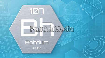 chemisches element des periodensystems bohrium