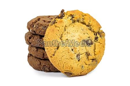 verschiedene schokoladen chips cookies