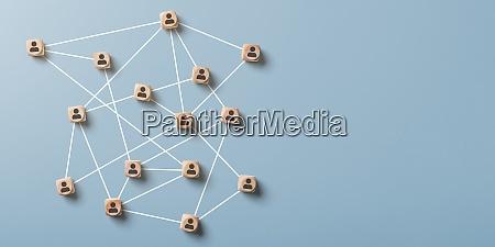 abstraktes soziales netzwerk mit kopierraum