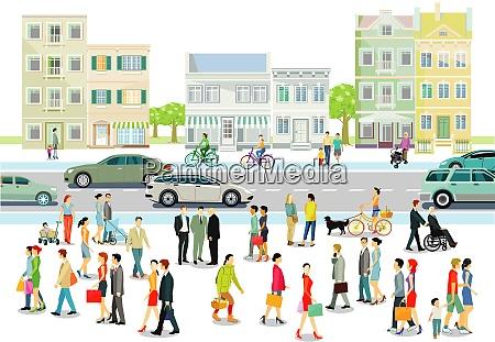 stadt mit menschen und strassenverkehr illustration