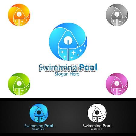 schwimmbad service logo mit reinigungspool und