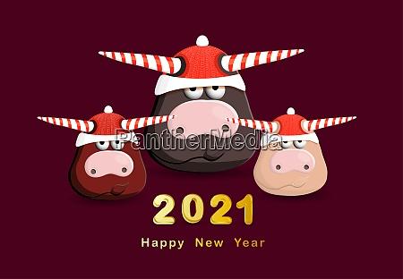 2021 jahr des weissen stiers glueckwunschplakat