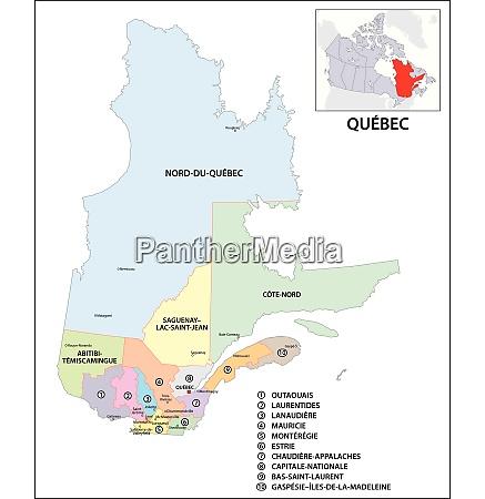 administrative vektorkarte der kanadischen provinz quebec
