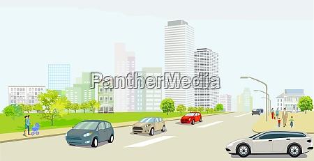 stadtsilhouette mit landstrasse personen und strassenverkehr