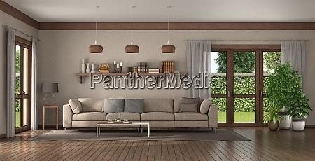 elegantes sofa in einem grossen wohnzimmer