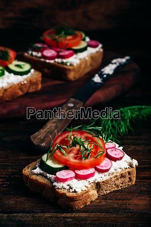 vegetarische sandwiches mit frischem gemuese