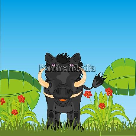 ungulate tier warzenschwein im afrikanischen dschungel