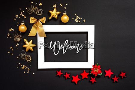 rahmen rot und goldene weihnachtsdekoration text