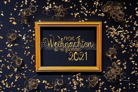 rahmen golden glitter weihnachtsdekoration glueckliches 2021