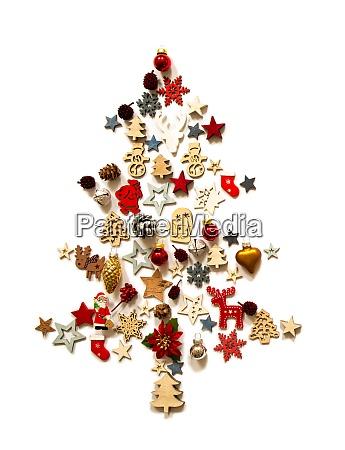 weihnachtsbaum dekoration und ornament isolierten hintergrund