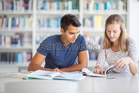 studenten in einer bibliothek studieren fuer