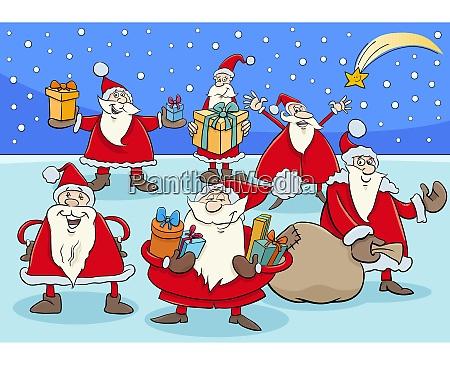 lustige weihnachtsmann zeichentrickfiguren gruppe auf weihnachten