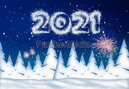 silvester illustration mit jahr 2021 und