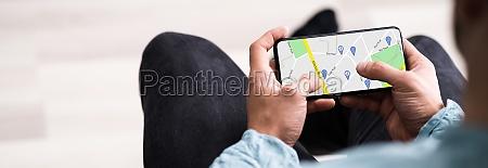 mobile gps standortkarte auf dem telefon