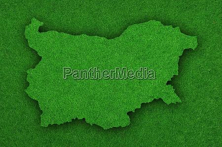karte von bulgarien auf gruenem filz