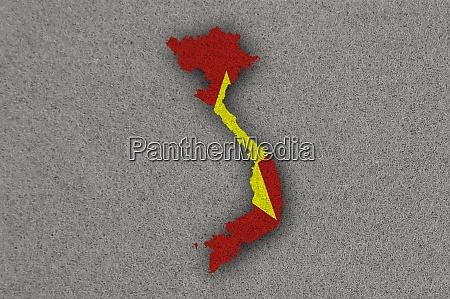 karte und flagge von vietnam auf