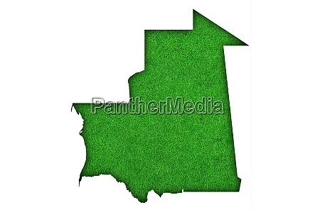 karte von mauretanien auf gruenem filz