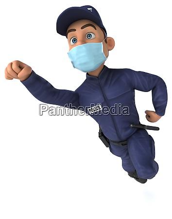 spass 3d illustration eines cartoon polizisten