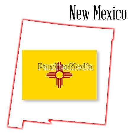 new mexico state karte und flagge