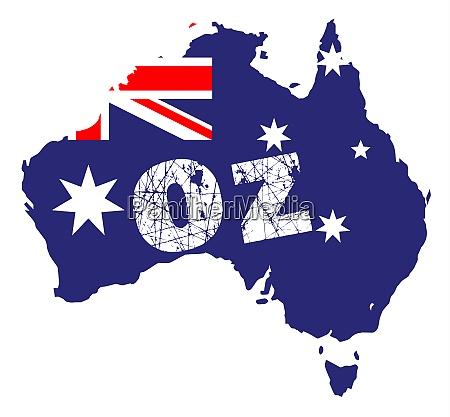 umrisskarte von australien ueber einem weissen