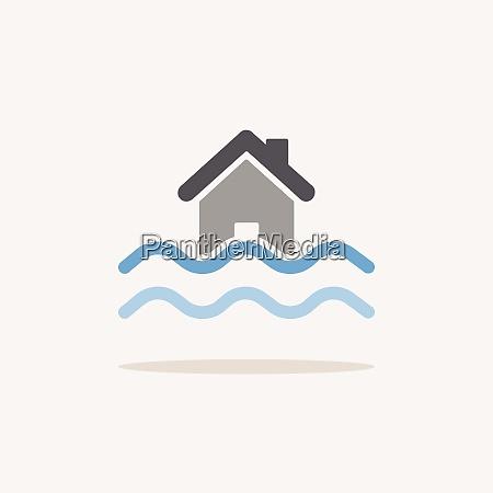 flut farbsymbol mit schatten wettervektor illustration
