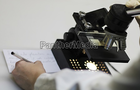 ein, forscher, der, eine, mikroskopanalyse, durchmacht., - 29000533