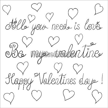 tinte valentinstag schriftzug