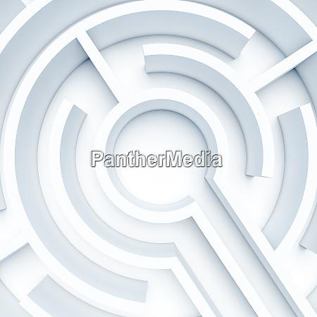 kreisfoermiges weisses labyrinth 3d render niemand