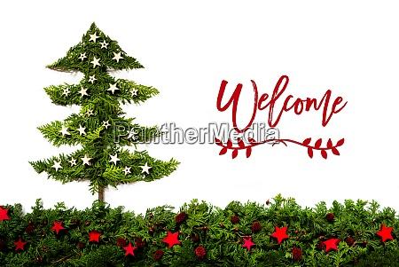 weihnachtsbaum aus tannenzweig text willkommen