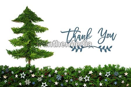weihnachtsbaum blaue sterne tannenzweig text danke
