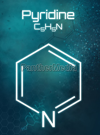 chemische formel von pyridin auf futuristischem