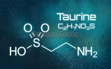 chemische formel von taurin auf einem