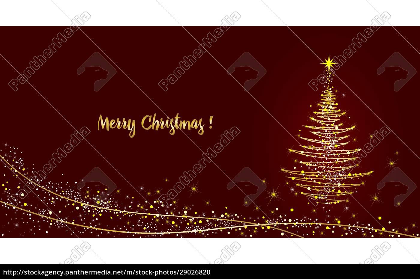 grußkarte, weihnachtsbaum, glänzend, mit, gold - 29026820