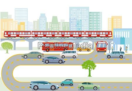 transport, mit, hocherhobenen, zügen, bussen, und, straßen - 29026463