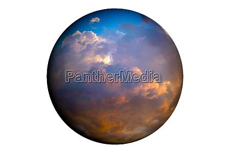 globus zeigt himmel mit wolken