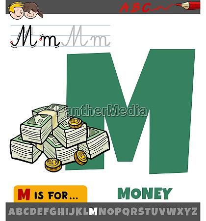 buchstabe m aus alphabet mit cartoon