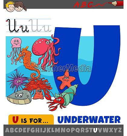 buchstabe u aus alphabet mit cartoon