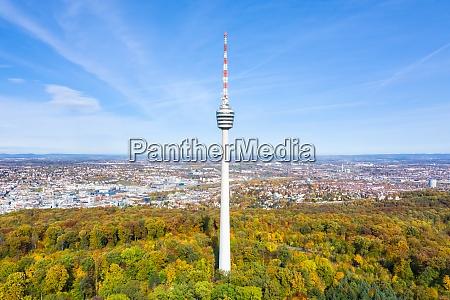 stuttgart tv tower skyline luftbild ansicht