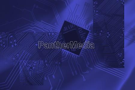 abstraktes blaues muster mit leiterplatte