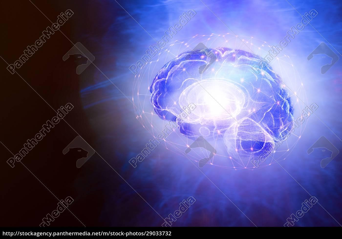 illustration, of, human, brain, and, bright - 29033732