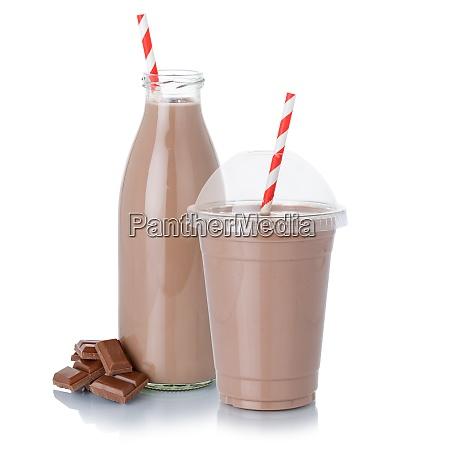 schokoladenmilch shake milchshake in einer flasche