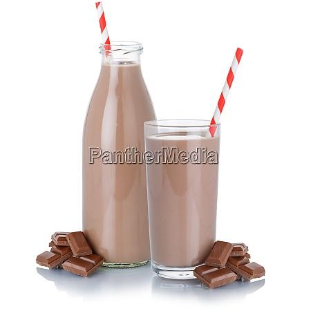 schokolade milch shake milchshake glas flasche