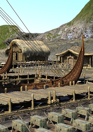 3d rendering vikings village
