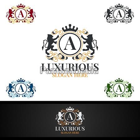 luxurioeses koenigliches logo fuer schmuck hochzeit