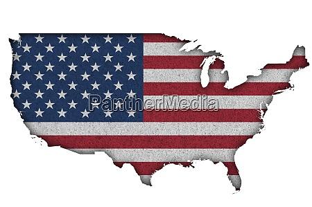 karte und flagge der usa auf