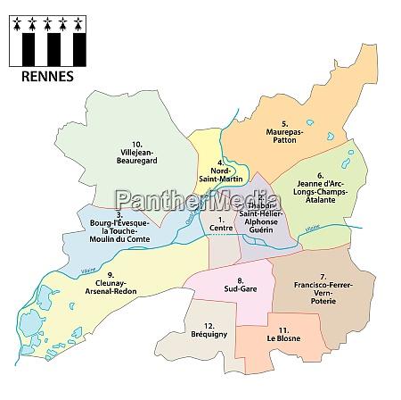 administrative vektorkarte der bretonischen hauptstadt rennes