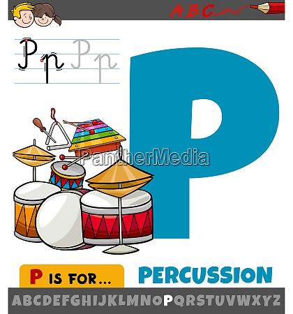 buchstabe p aus alphabet mit perkussionsmusikinstrumenten