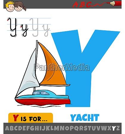 buchstabe y aus alphabet mit cartoon